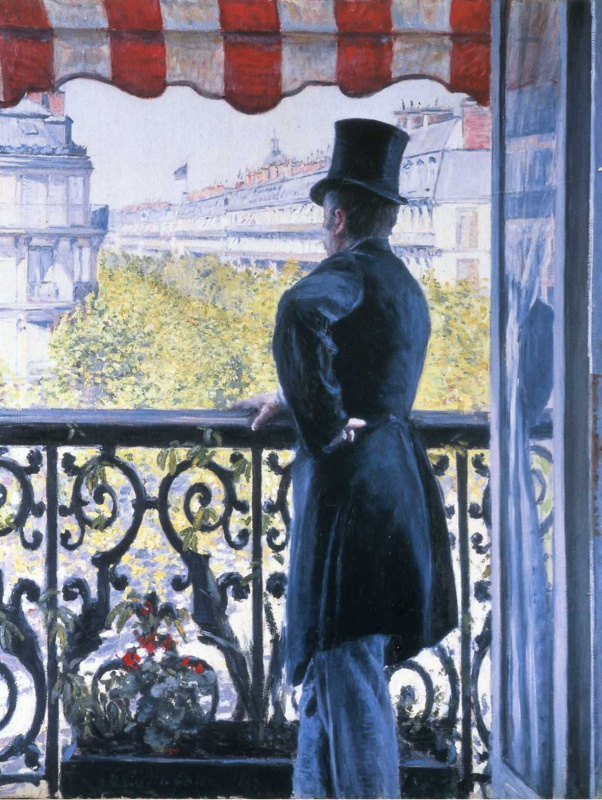 Gustave Caillebotte. Man on balcony, Boulevard Haussmann