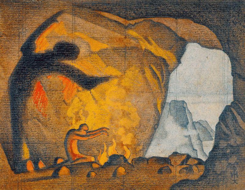 Nicholas Roerich. Spell of fire. Sketch
