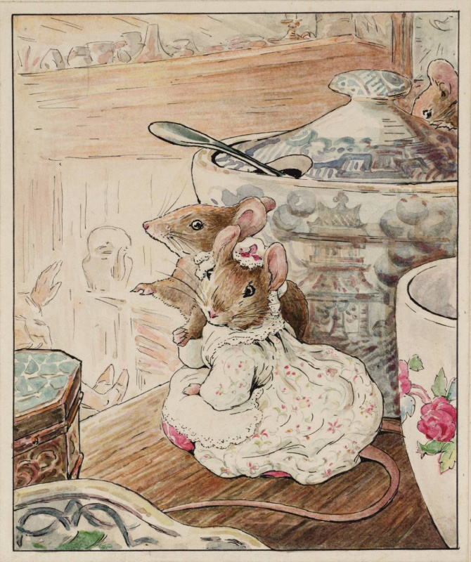 "Ellen Beatrix Potter. Mouse listen to the cry of a tailor. Illustration for ""the Tailor of Gloucester"""