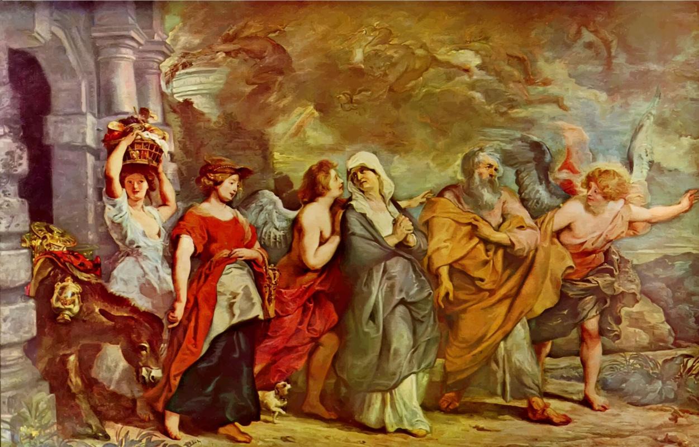 Питер Пауль Рубенс. Лот с семьей, покидающие Содом