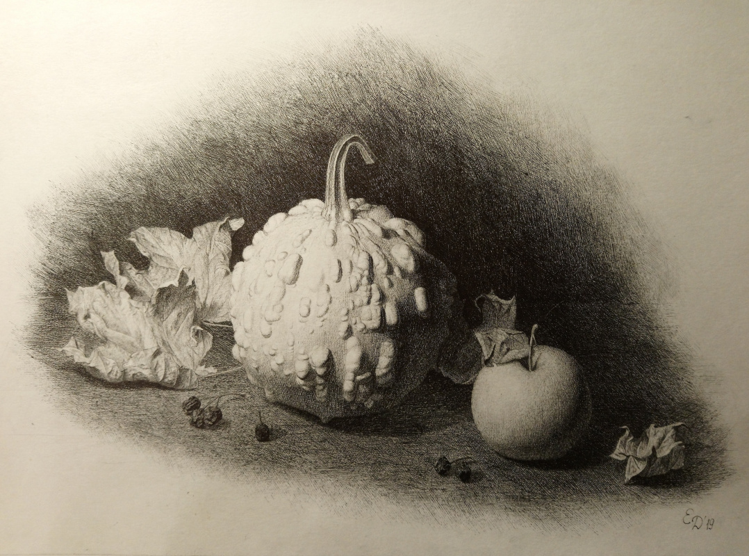 "Elena Alexandrovna Danilova. ""Pumpkin and Dry Leaves"""