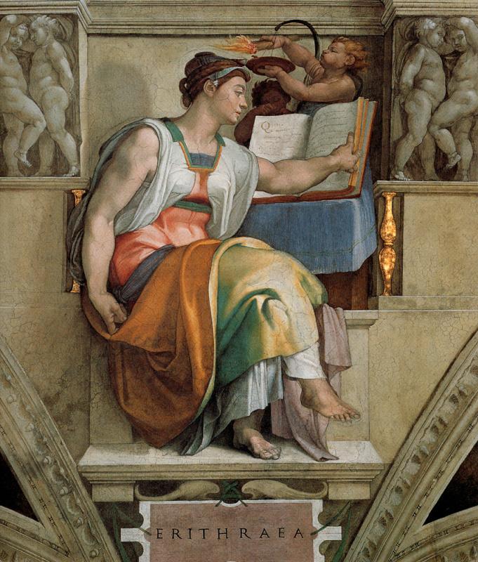 Michelangelo Buonarroti. The Sistine chapel. The Eritrean sibyl