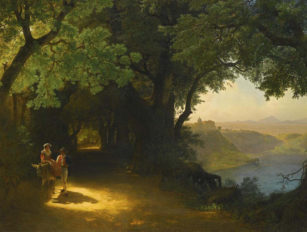 Лев Феликсович Лагорио. Вид на замок Гандольфо и озеро Альбано