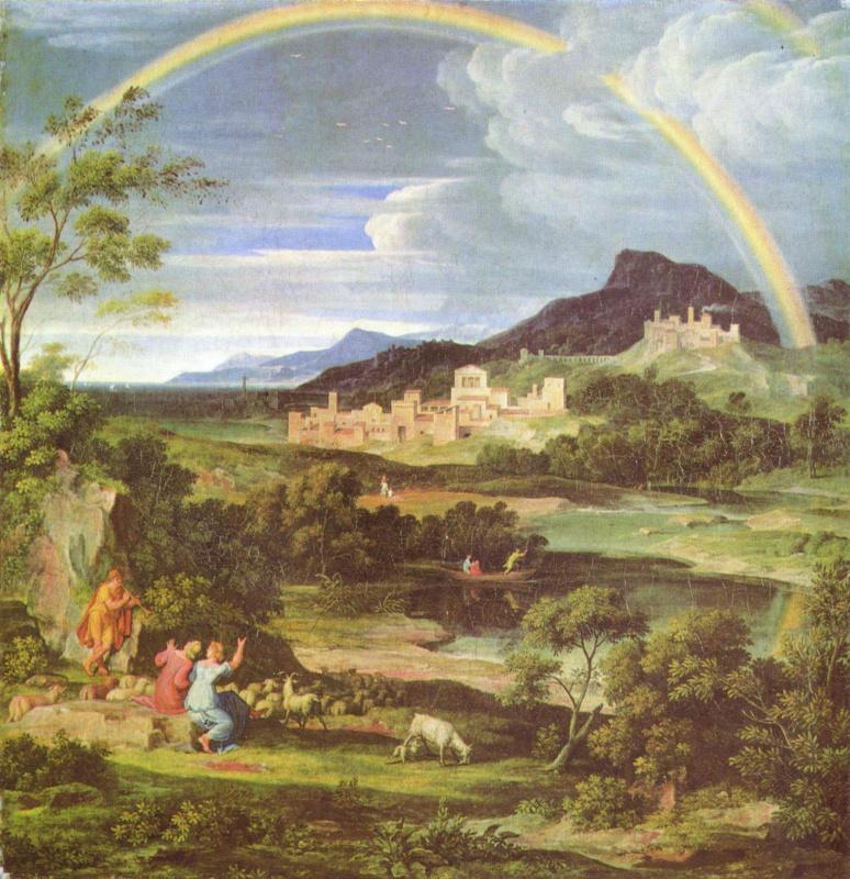 Героический пейзаж с радугой