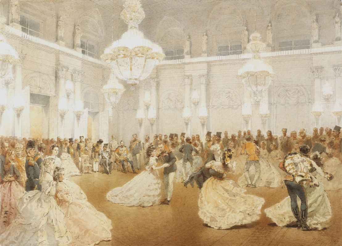 Mikhail Alexandrovich Zichy. A ball in the Concert Hall of the Winter Palace during the official visit of the Shah Nasir ad-Din in May 1873.