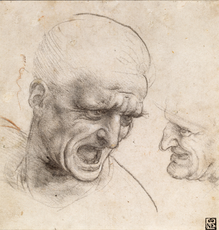 "Leonardo da Vinci. The heads of two warriors. Sketch for ""the Battle of Anghiari"""
