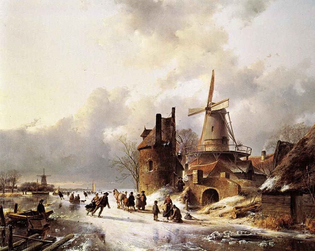 Andreas Schelfout. Winter landscape