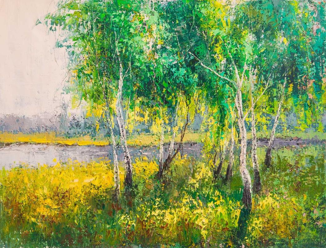 Andrey Sharabarin. Birches in the sun