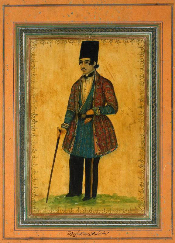 Мухаммад Джавад. Портрет мужчины с тростью
