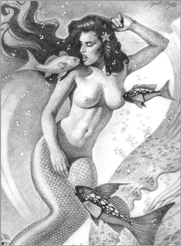 Русалка с рыбами