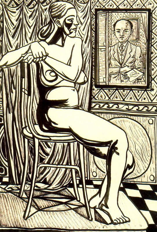 Рафаэль Сабалета. Сидящая обнаженная и автопортрет художника