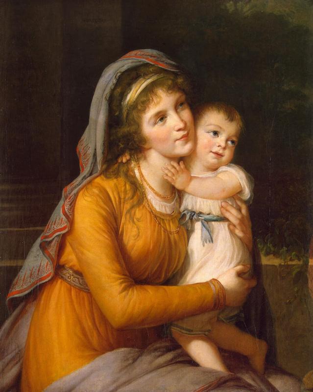 Elizabeth Vigee Le Brun. Portrait of Countess Anna Stroganova with her son