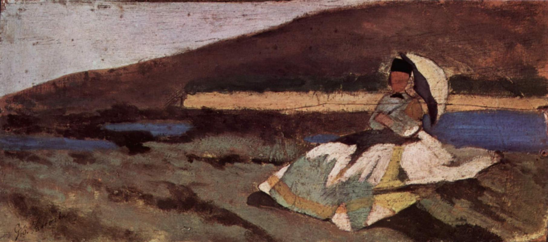 Giovanni Fattori. The lady sitting in the fresh air