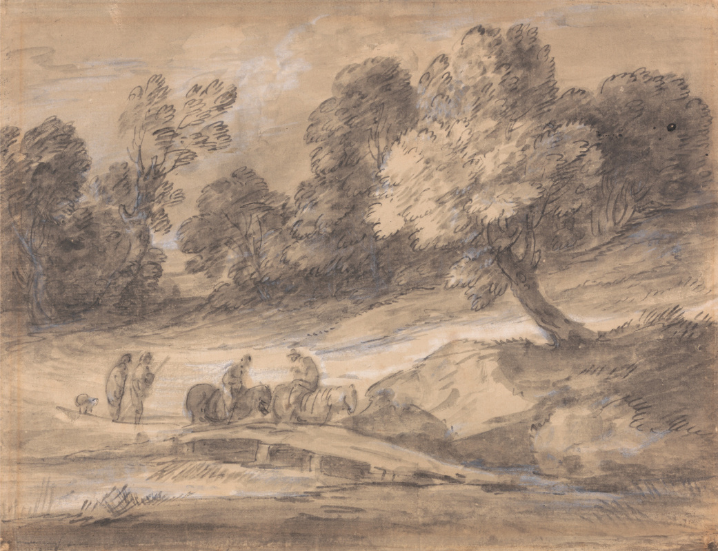 Thomas Gainsborough. Forest landscape with figures on horseback crossing a bridge