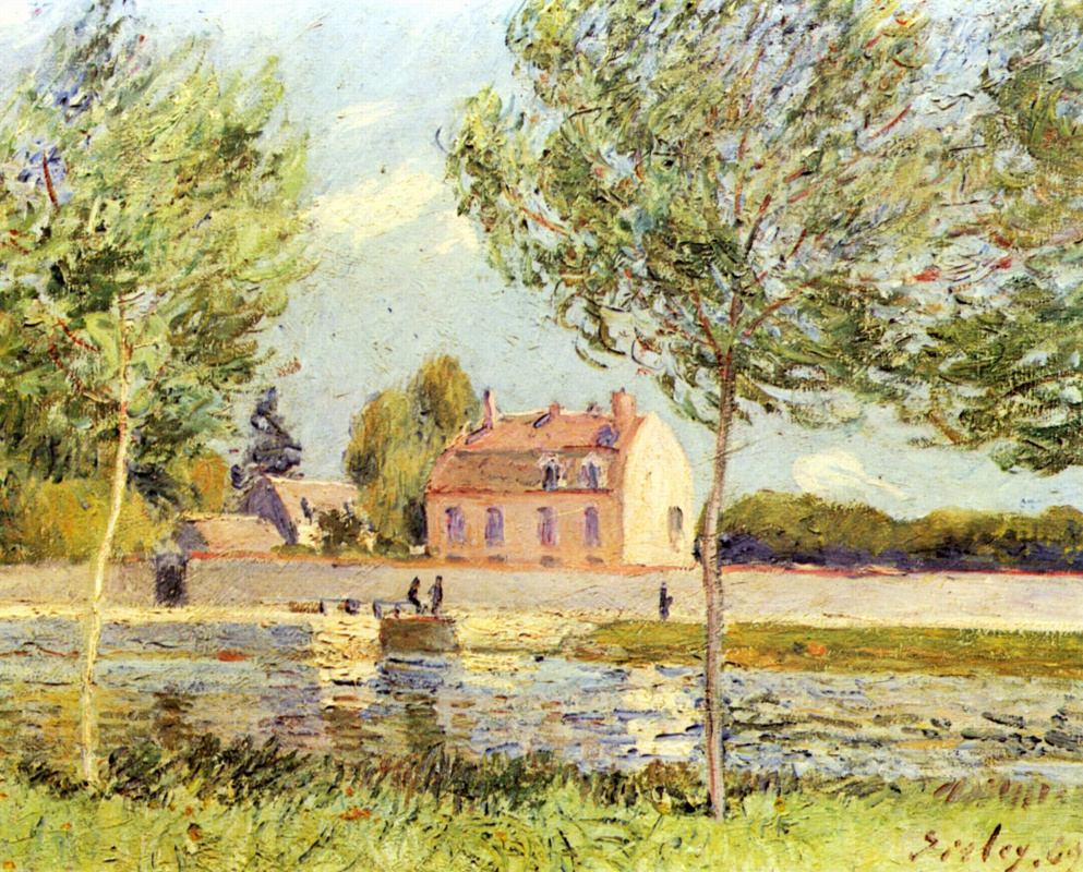 Alfred Sisley. Houses along the river Loing