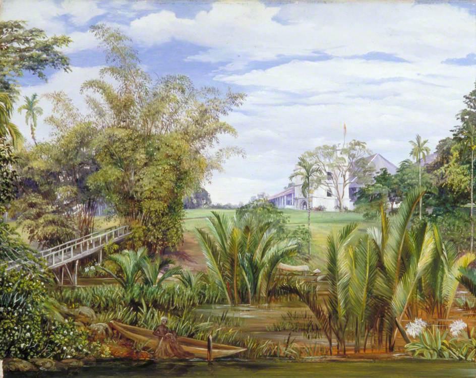 Marianna North. Landscape with boat and bridge, Sarawak, Borneo