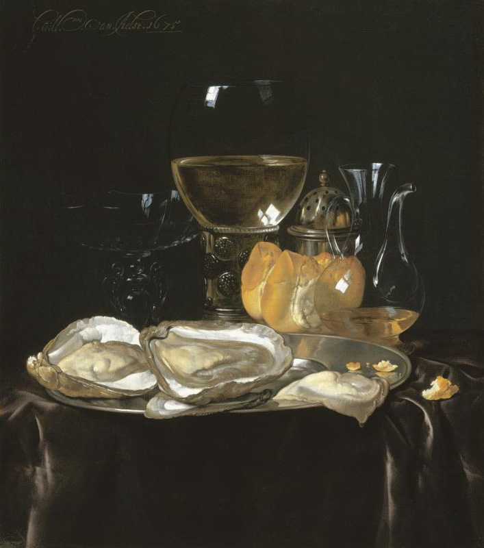 Willem van Aelst. Still life with römer, decanter and oysters on a silver platter