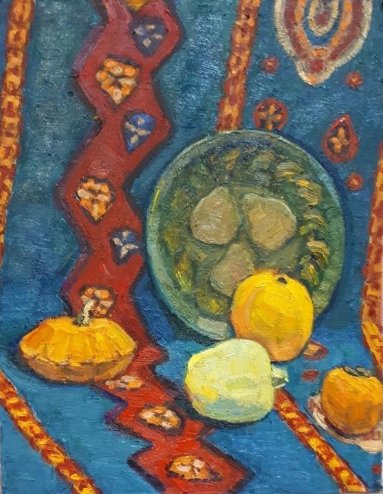 Vera Alekseevna Emelyanova. Still life with yellow fruits