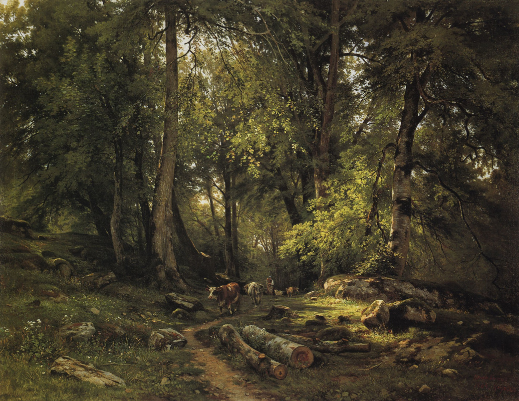 Ivan Shishkin. The herd in the forest