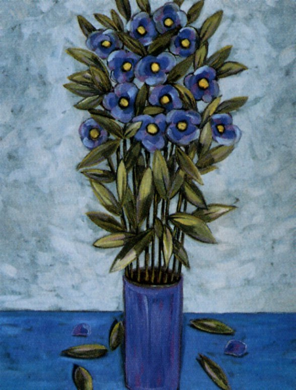 Чарльз Суксан. Синяя ваза с цветами