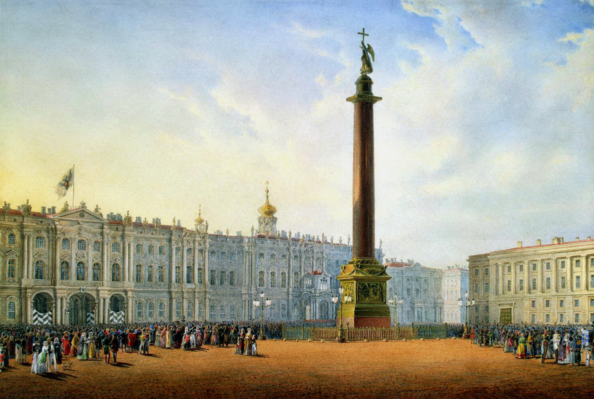 View of the Palace square and the Winter Palace in St  Petersburg by