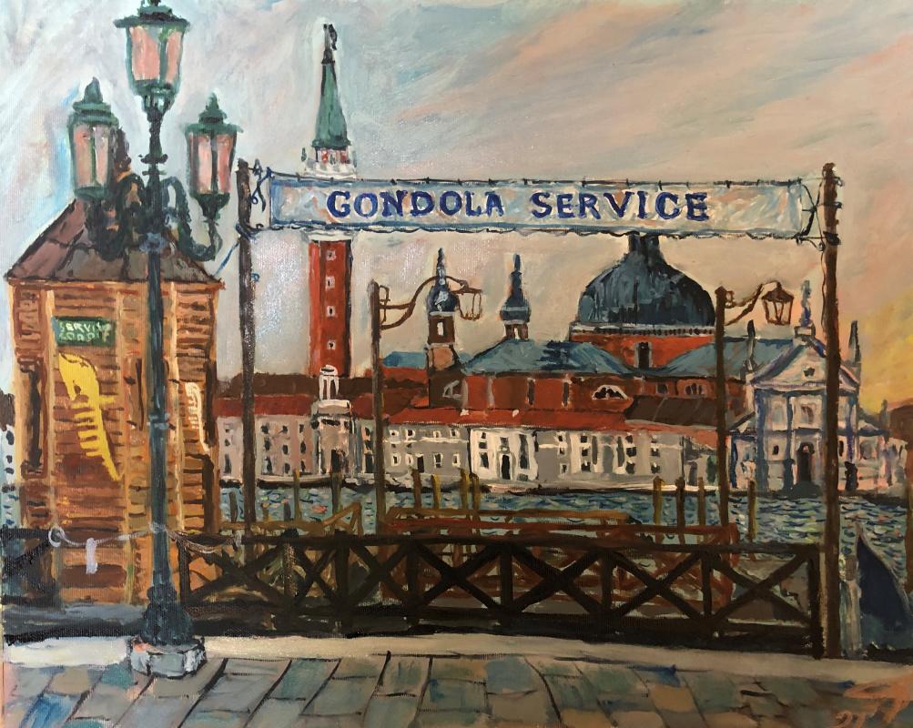 Sergey Vladimirovich Sebini. Dawn in Venice. Gondola Service