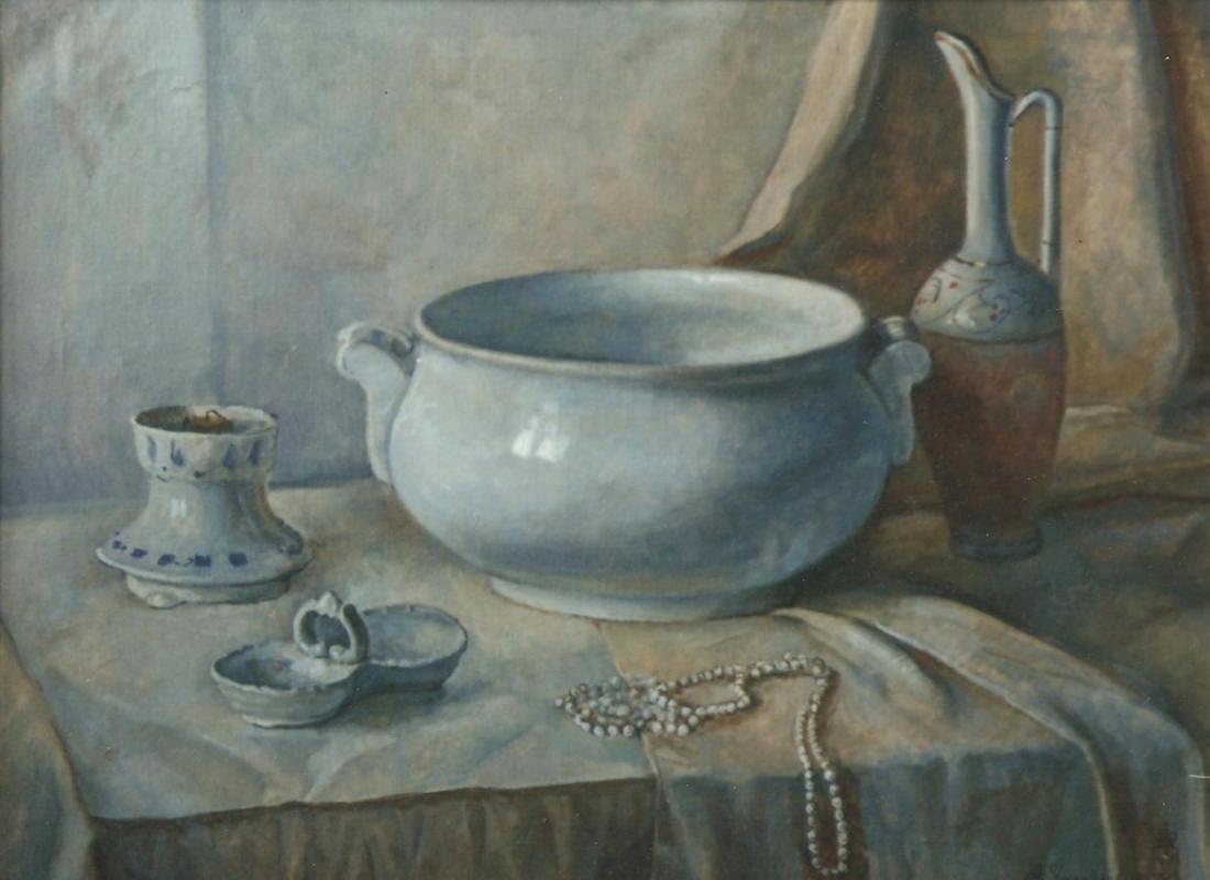 Aleksandr Chagadaev. Still life in whitish tones