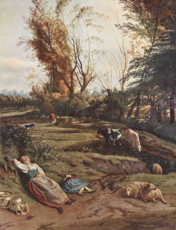 Ян Сиберехтс. Пастбище с двумя спящими пастушками