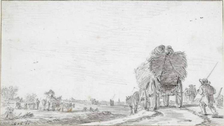 Jan van Goyen. The wagon with hay