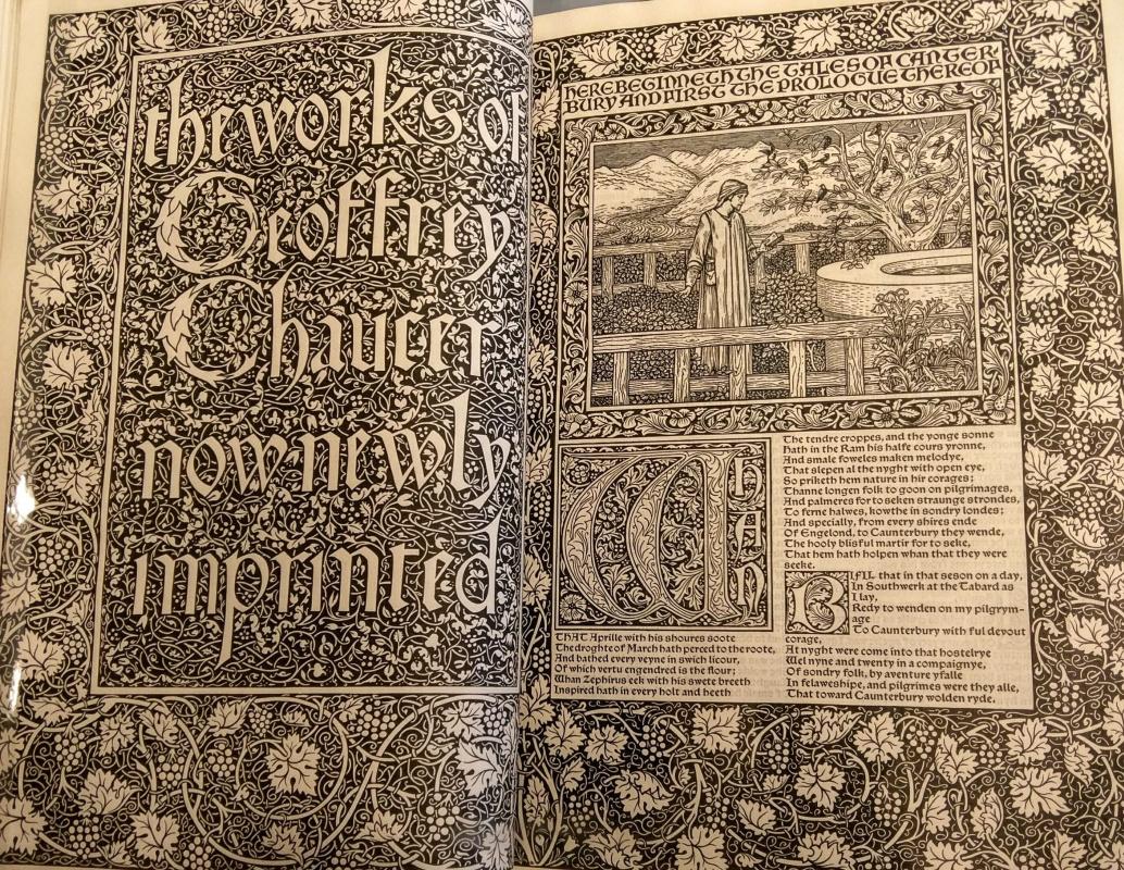 William Morris. Kelmscott-press. Design for the collection of Jeffrey Chaucer