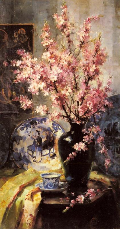 Франс Мортелманс. Яблоневый цвет и бело-голубой фарфор на столе