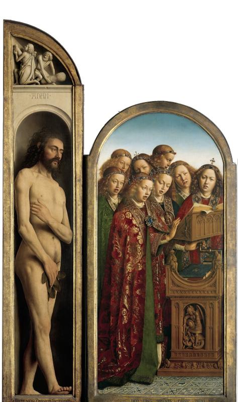 Губерт ван Эйк. Гентский алтарь. Левая створка: Адам и поющие ангелы (фрагмент)