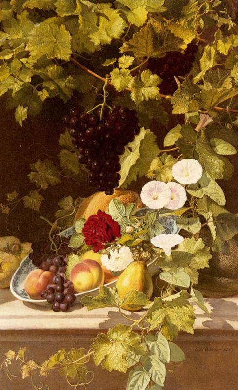 Отто Дидрик Оттесен. Натюрморт с фруктами и цветами