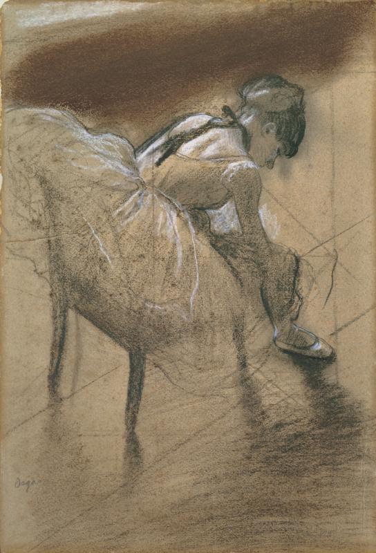 Edgar Degas. Seated dancer rubs his leg