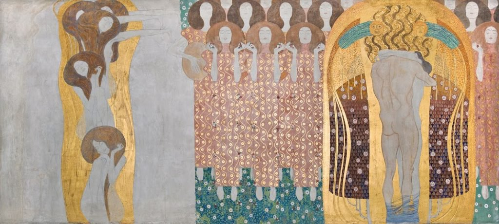 Gustav Klimt. The Arts, Paradise Choir, and The Embrace, detail of Beethoven Frieze