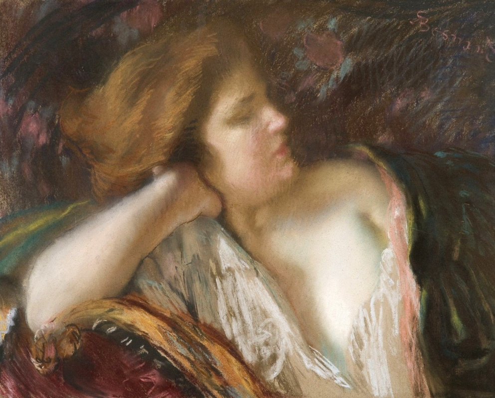 Paul Albert Benar. Pensive woman on the couch.