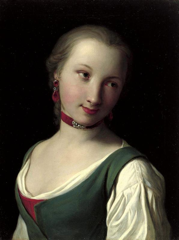 Портрет женщины с зеленым жилетом, белой блузкой и красным колье