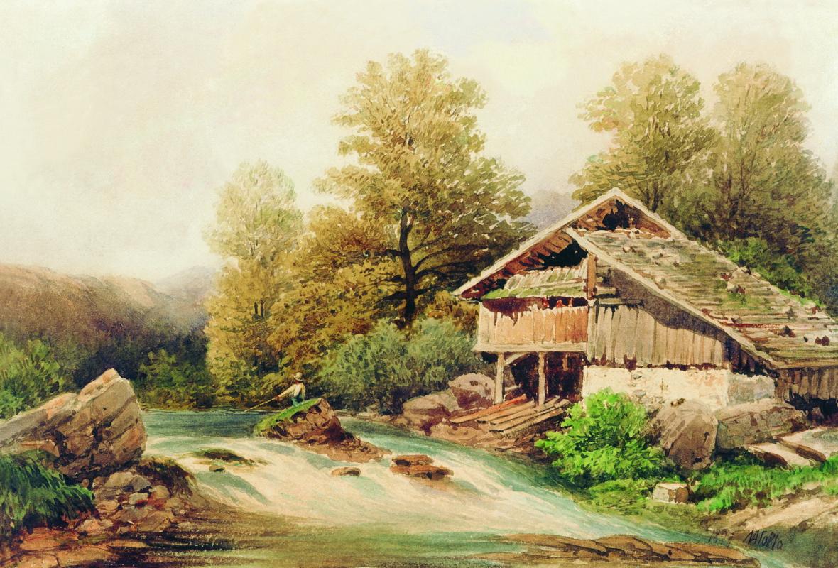 Lev Feliksovich Lagorio. On the bank of a mountain stream