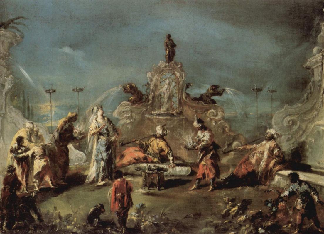 Джованни Антонио Гварди. Сцена в саду сераля