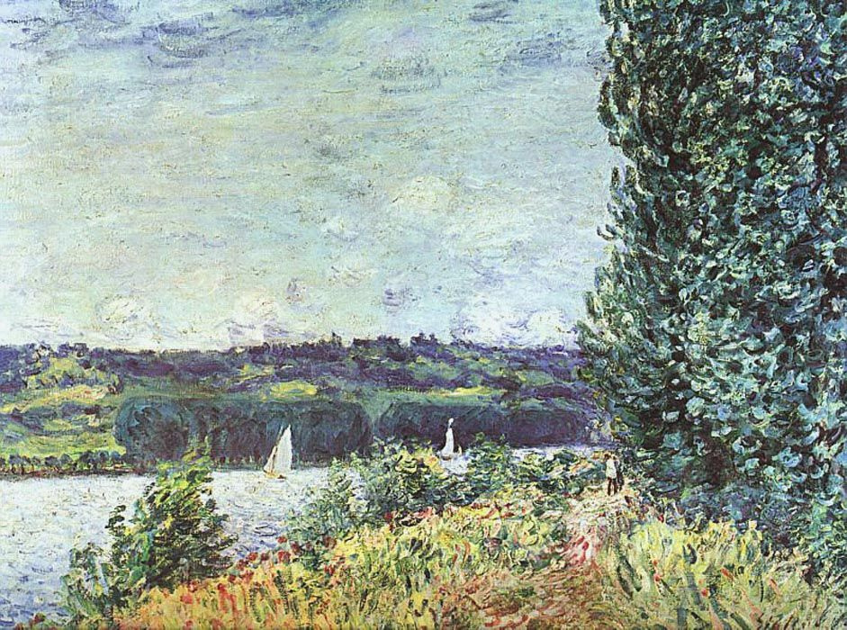 Alfred Sisley. The banks of the Seine, wind