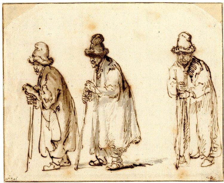 Rembrandt Harmenszoon van Rijn. Three studies of an old man in a high fur cap