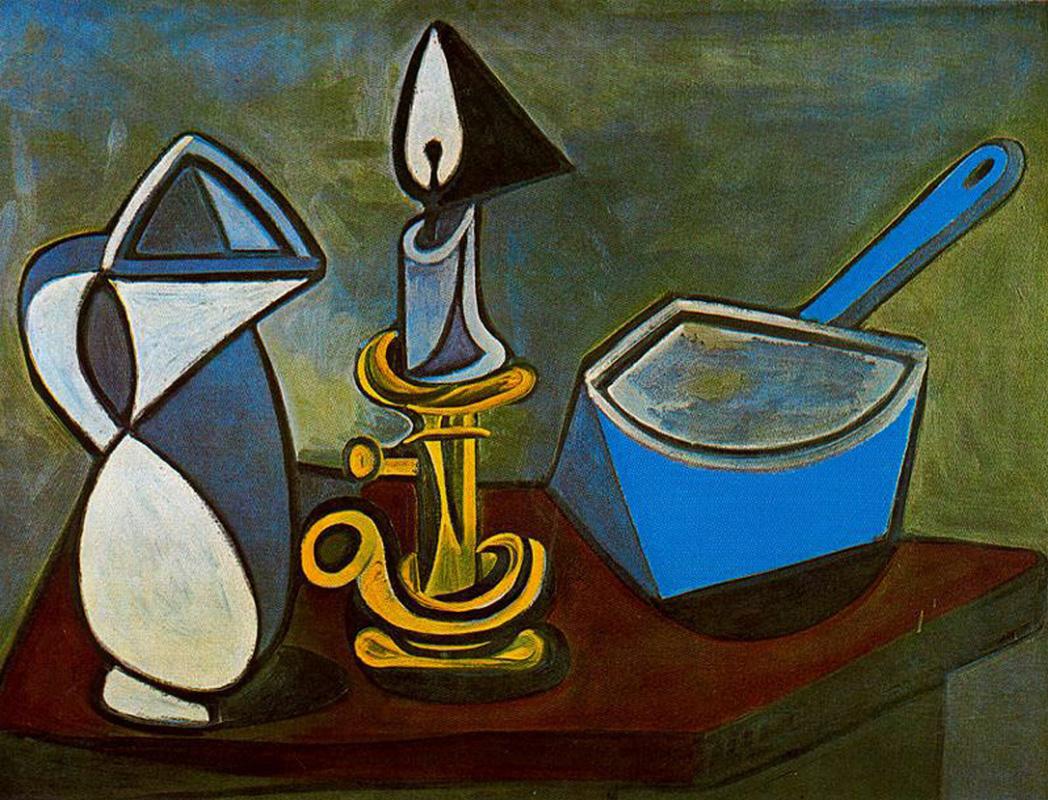 Пабло Пикассо. Кувшин, свеча и эмалированный ковш