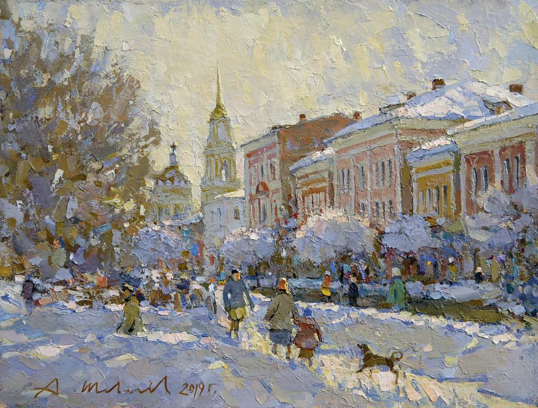 Alexander Victorovich Shevelyov. Volzhskaya embankment. Oil on canvas 28.5 x 37.4 cm. 2019