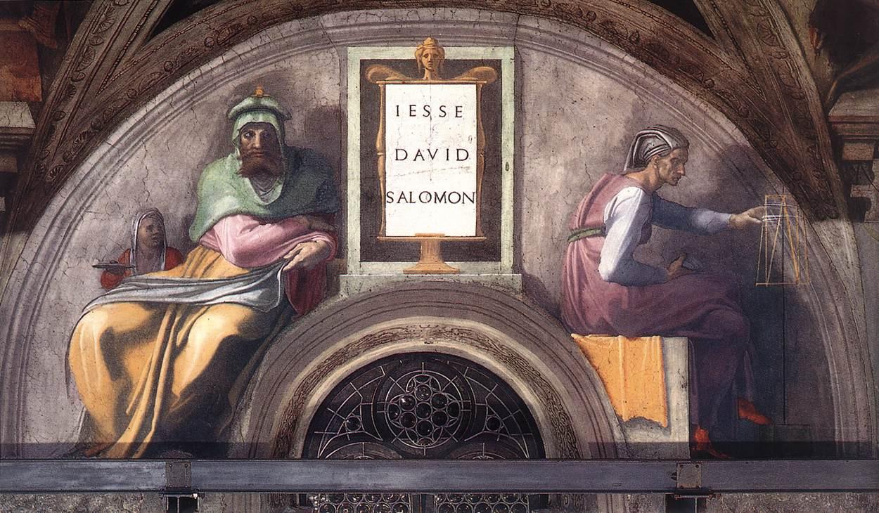 Michelangelo Buonarroti. The lunette of the Sistine chapel. Jesse, David, Solomon