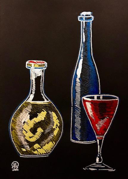 Larissa Lukaneva. Red wine. Sketch.