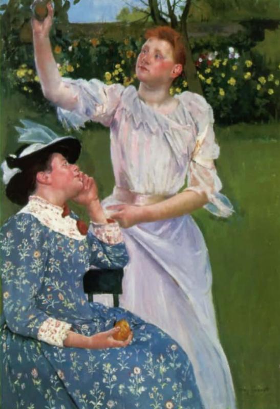 Девушки, собирающие фрукты