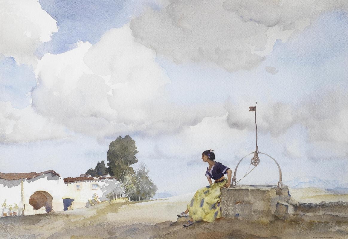 William Russell Flint 1880 - 1969 Scotland. The girl on Gaziende, Sierra de Segura.