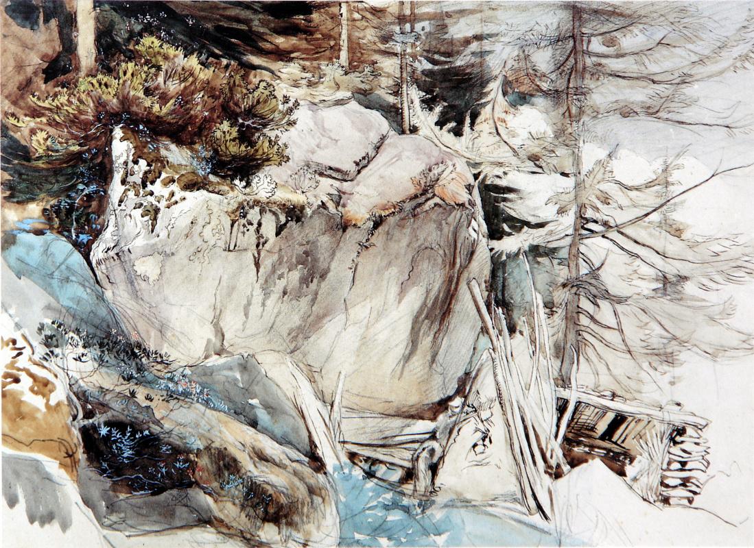 """Джон Рёскин. Горный пейзаж с """"альпийской розой"""", ржавым рододендроном"""