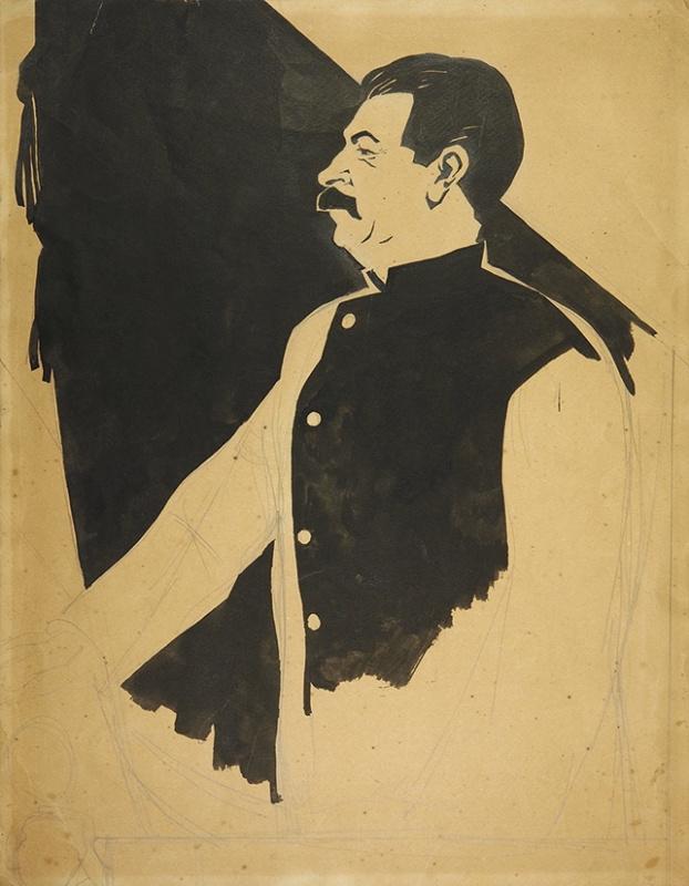 Дмитрий Стахиевич Моор (Орлов). Портрет И.В. Сталина. 1930-е  кисть 34,8 х 2