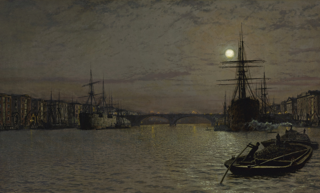 John Atkinson Grimshaw. London bridge and harbor at night